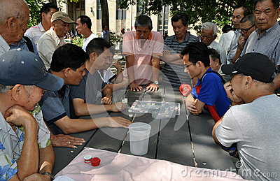 NYC: Playing Checkers in Chinatown Editorial Stock Photo