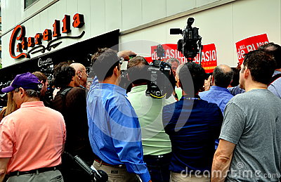 NYC:  Press Frenzy at Bill DeBlasio Campaign Stop Editorial Photo