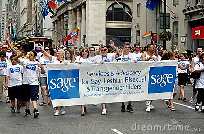NYC: SAGE Contingent at Gay Pride Parade Editorial Stock Image