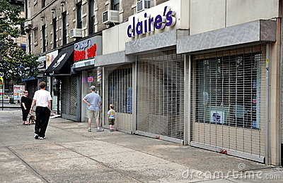 NYC: Shuttered Stores due to Hurricane Editorial Stock Photo