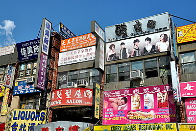 NYC: Signs in Flushing s Chinatown Editorial Stock Photo