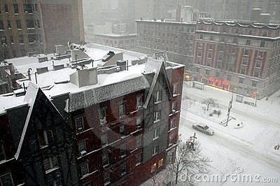 NYC: Snow Storm on Broadway Editorial Photography
