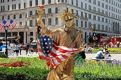 NYC: Statue of Liberty Mime Editorial Stock Photo
