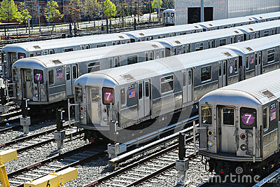 NYC  subway cars in a depot Editorial Photography