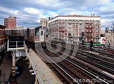 NYC Subway train riding through the Bronx