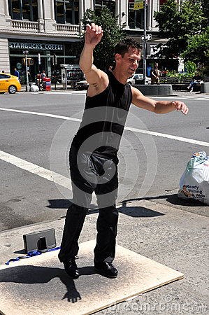 NYC: Tap Dancer on Broadway Editorial Photo
