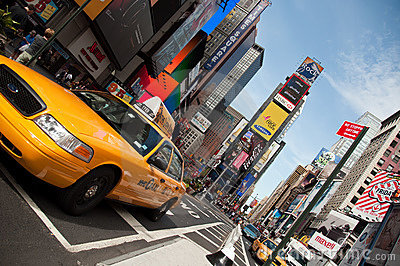 NYC Taxi, Times Square Editorial Stock Image