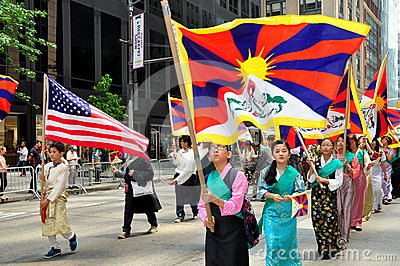NYC: Tibetan Marchers at Immigrants Parade Editorial Stock Image
