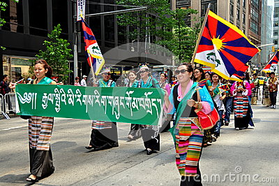 NYC: Tibetans Marching in Immigrants Parade Editorial Image