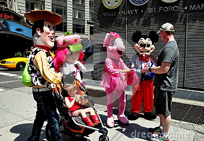 NYC: Times Square Disney Characters Editorial Stock Image