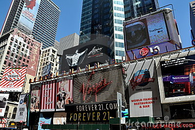 NYC: Times Square Signs Editorial Photo