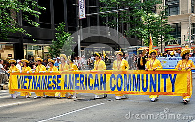 NYC: Vietnamese Marching in International Immigrants Parade Editorial Photography
