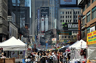NYC: View along Broadway to Times Square Editorial Stock Image