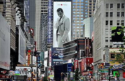 NYC: View down Broadway to Times Square Editorial Photo