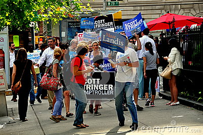 NYC: Volunteers Campaigning for Democratic Candidates Editorial Image