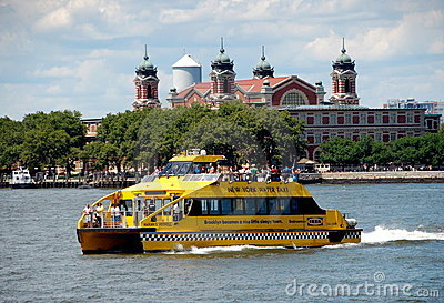 NYC: Water Taxi and Ellis Island Editorial Stock Photo
