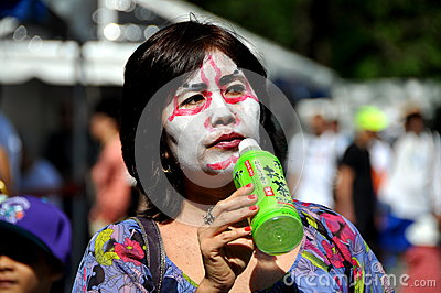 NYC: Woman in Kabuki Makeup at Japan Day Festival Editorial Stock Image