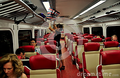 NYC: Woman in Metro-North Railway Carriage Editorial Stock Image