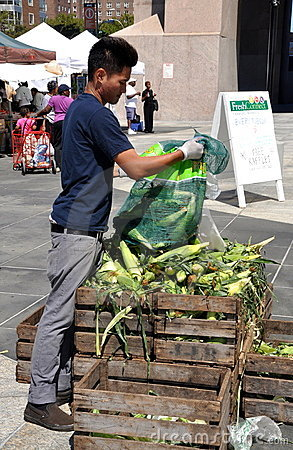 NYC: Worker at Harlem Farmer s Market Editorial Photography