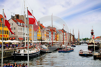 Nyhavn, New Harbor, Copenhagen, Denmark Editorial Image