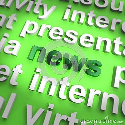 Nyheternaord som visar journalistik och information om medel