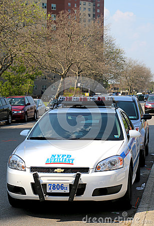 NYPD axillary car in Brooklyn, NY Editorial Stock Image