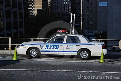 NYPD Car on Brooklyn Bridge Editorial Photo