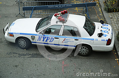 NYPD car providing security in World Trade Center area of Manhattan Editorial Stock Photo