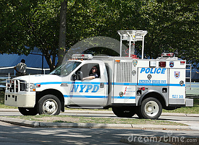 NYPD emergency service unit providing security near National Tennis Center during US Open 2013 Editorial Stock Image