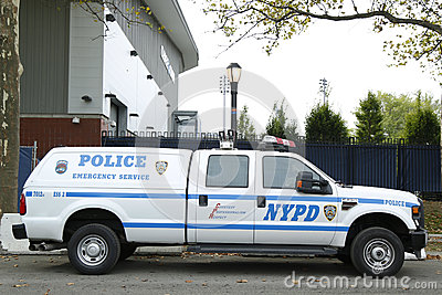 NYPD emergency service unit providing security near National Tennis Center during US Open 2013 Editorial Photo