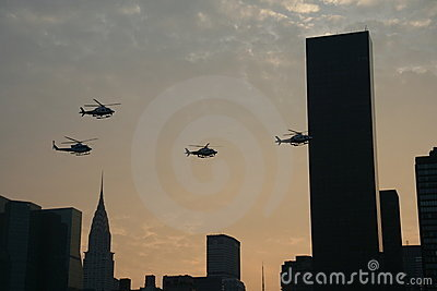 NYPD Helicopters over Manhattan Editorial Stock Photo