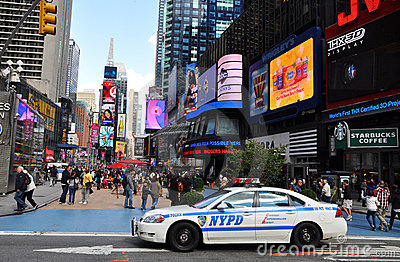 NYPD police car in Times Square Editorial Stock Image