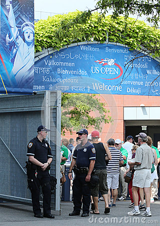 NYPD police officers ready to protect public at Billie Jean King National Tennis Center during US Open 2013 Editorial Photography