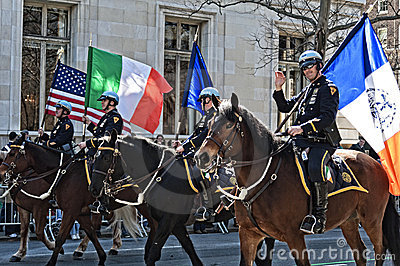 NYPD in Saint Patrick s Day Parade Editorial Stock Image