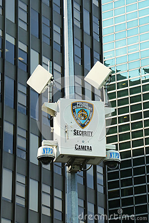 NYPD security camera in Manhattan Editorial Stock Photo