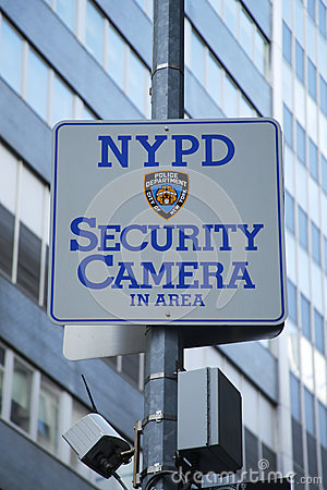 NYPD security camera sign placed near World Trade Center site in Lower Manhattan Editorial Photography