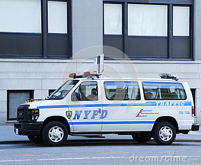NYPD traffic control van in Manhattan Editorial Stock Image