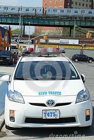 NYPD traffic control vehicle in Brooklyn, NY Editorial Stock Image