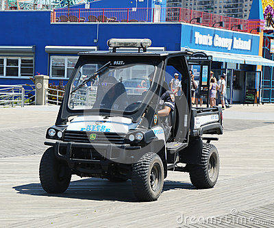 NYPD vehicle at Coney Island Boardwalk in Brooklyn Editorial Photography