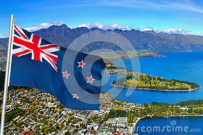 Queenstown, Flag, Wakatipu Lake, Gondola Summit view, New Zealand