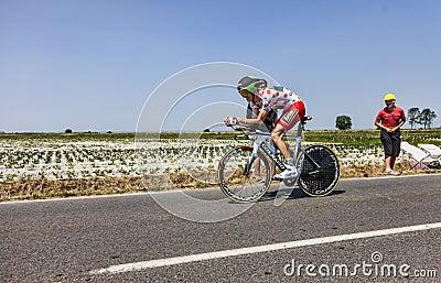 O às bolinhas Jersey Pierre Rolland Imagem de Stock Editorial