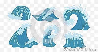 Sea waves. Ocean Wave Vector Illustration
