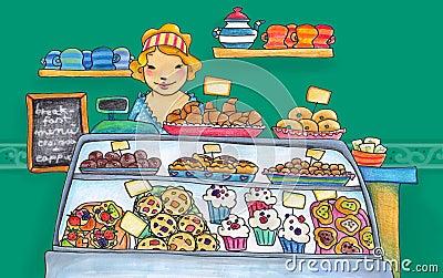 γλυκό καταστημάτων ζαχαρ&o