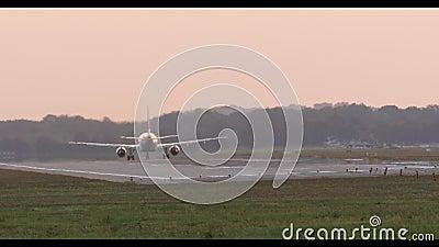 O avião decola durante o por do sol video estoque