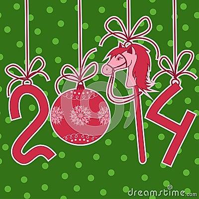 O cartão de ano novo e de Natal com 2014 estilizou números