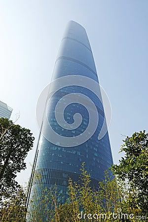 O centro da finança internacional de Guangzhou (GZIFC) Fotografia Editorial