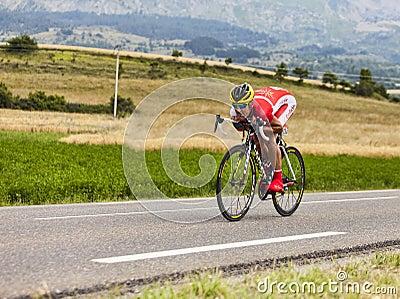 O ciclista Egoitz Garcia Echeguibel Foto Editorial
