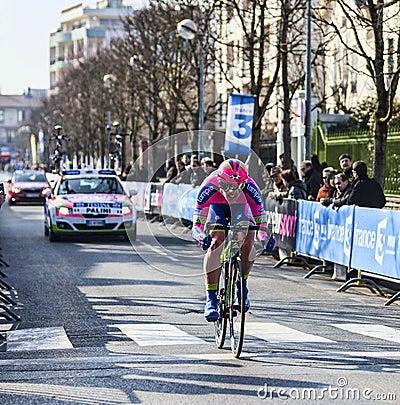 O ciclista Palini Andrea Francesco Paris 20 agradáveis Imagem de Stock Editorial