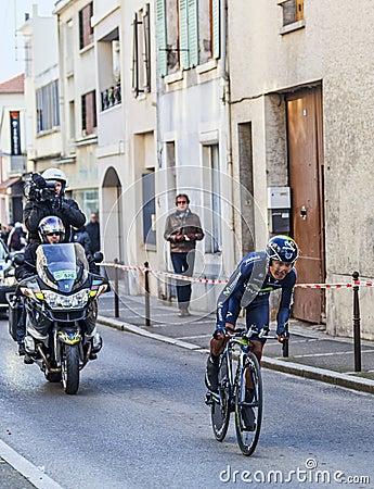 O ciclista Quintana Rojas Nairo Alexander Paris Prol 2013 agradável Imagem Editorial