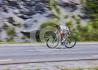 O ciclista Samuel Dumoulin Foto Editorial